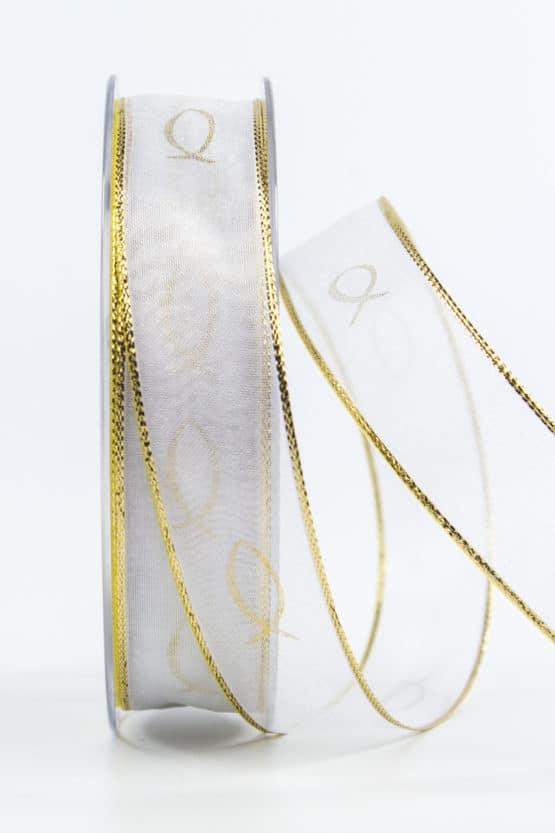 Chiffonband Fische für Kommunion/Konfirmation, gold, 25 mm breit - kommunion-konfirmation
