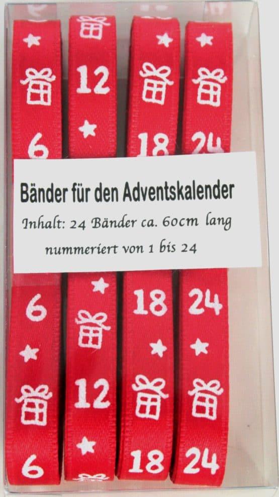 Adventskalender-Bänderset, Zahlen von 1-24 - weihnachtsband