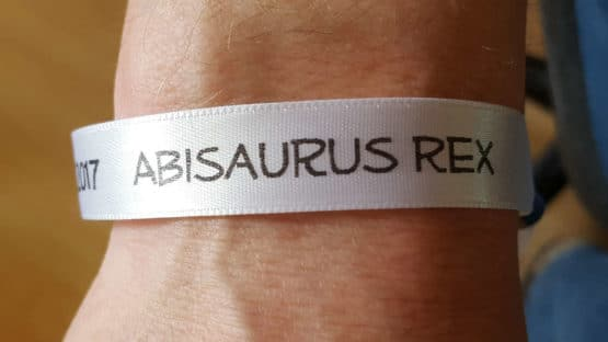 Personalisiertes, bedrucktes Stoff-Armband / Festivalbändchen, 10 oder 15 mm breit, 72 Stück als 25m-Rolle - verschluss, individuelles-band, armbaender