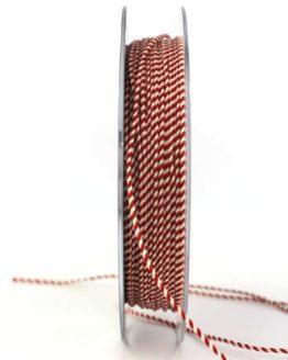 Dünne Kordel, rot/weiß, 1 mm stark - zierkordeln, andere-baenderkordeln