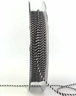 Dünne Kordel, schwarz/weiß, 1 mm stark - zierkordeln, andere-baenderkordeln
