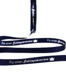 Geschenkband 'Für einen Lieblingsmenschen', 15  mm breit - weihnachtsband, satinband, geschenkband-aljo-design, bedrucktes-satinband