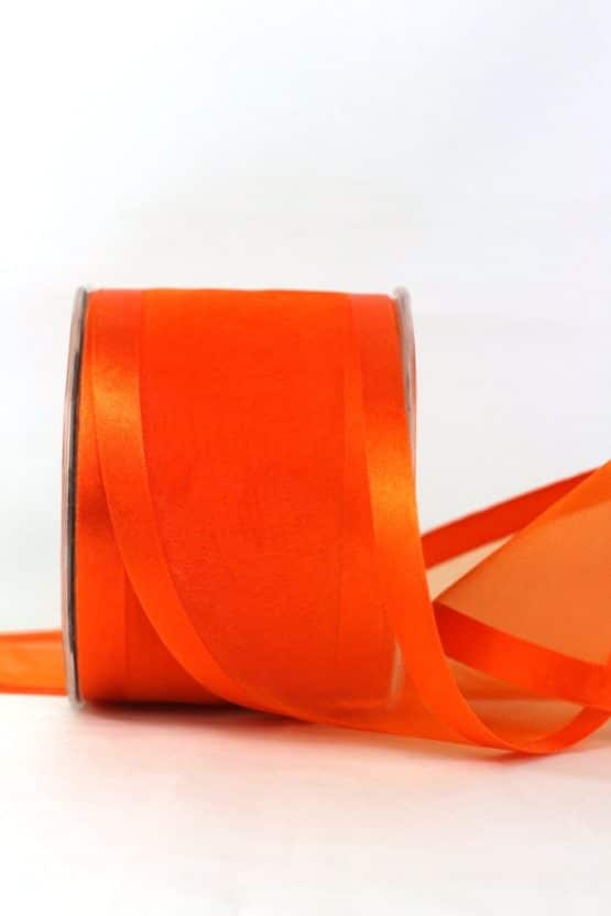 Breites Organzaband, orange, 70 mm breit - organzabaender