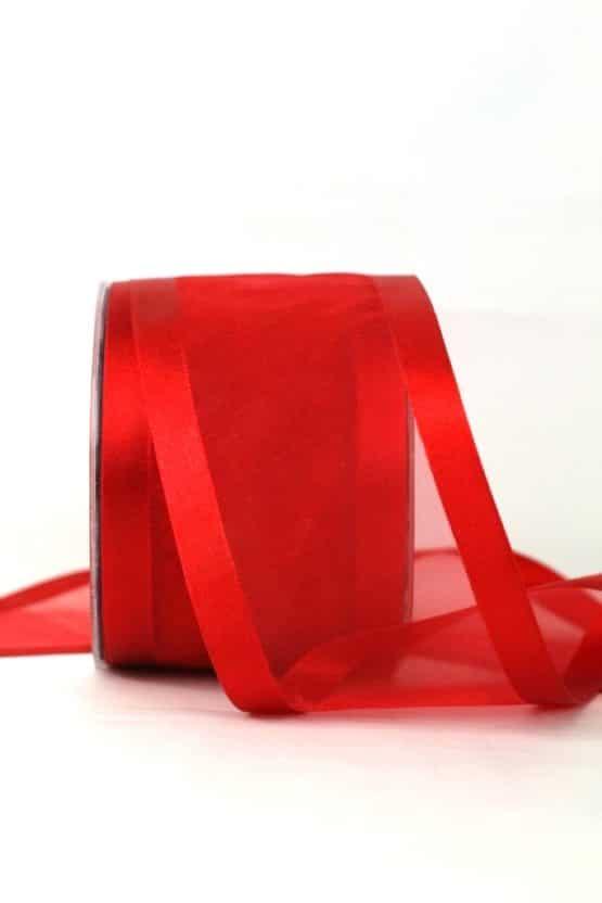 Breites Organzaband, rot, 70 mm breit - organzabaender