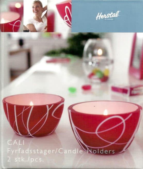 Teelichthalter CALI rot von Herstal, 2 Stück - geschenke