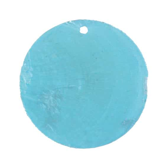 Runde Namenskarten/Dekoanhänger Perlmutt, türkis, 4 cm, 6 St. - hochzeitsaccessoires