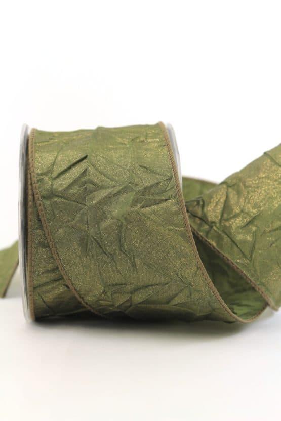 Dekoband gecrashed, grün, 65 mm mit Draht - weihnachtsband, dekoband-mit-drahtkante