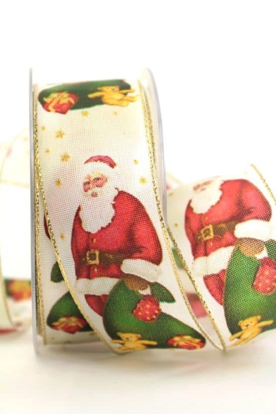 Schleifenband Knecht Rupprecht, 40 mm mit Draht - weihnachtsband, bedruckte-weihnachtsbander
