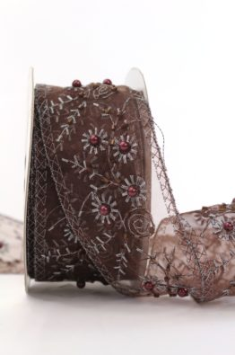 Dekoband Organza mit Perlen braun  50mm (5940985005605)