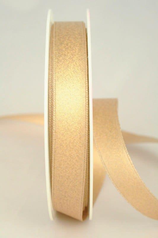 Glitzerndes Satinband creme-gold, 15 mm breit - weihnachtsband, satinband