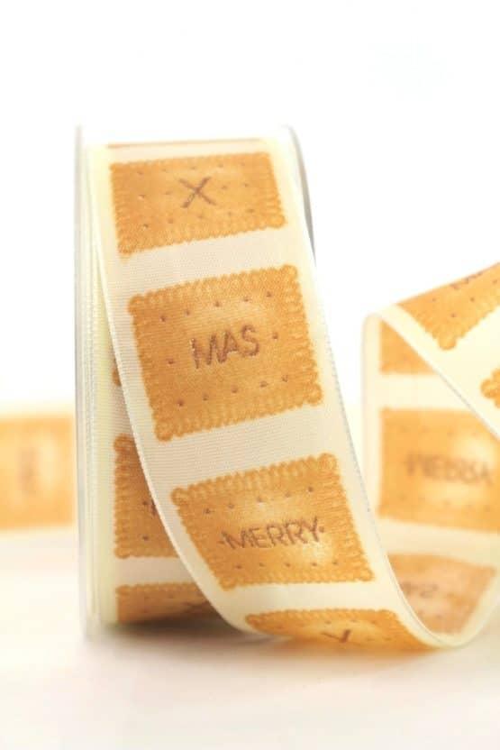 Dekoband X-mas-Keks, creme, 40 mm mit Draht - weihnachtsband, bedruckte-weihnachtsbander