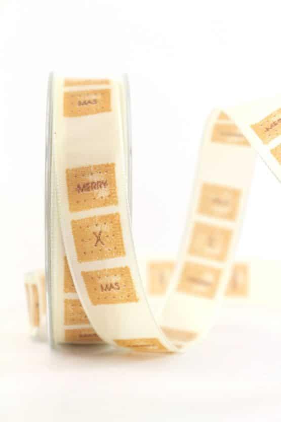 Dekoband X-mas-Keks, creme, 25 mm mit Draht - weihnachtsband, bedruckte-weihnachtsbander