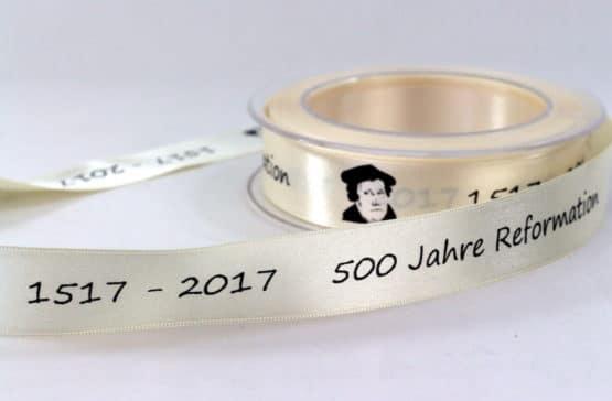 Geschenkband 500 Jahre Reformation, 25 mm - satinband, reformationsjubilaeum, bedrucktes-satinband
