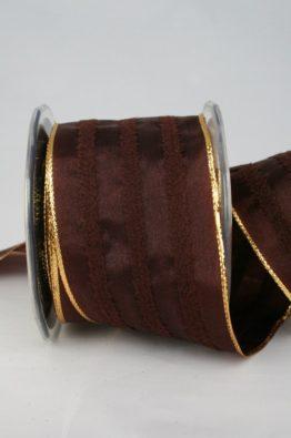 Dekoband braun, 65mm breit (3050322-65-708) - Weihnachtsband
