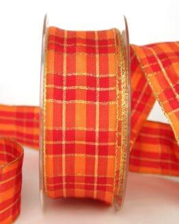 Karoband rot-orange-gold, 40 mm breit, mit Drahtkante - weihnachtsband