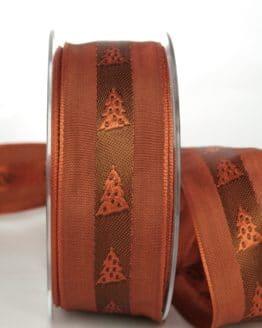 Ausgefallenes Dekoband für Weihnachten, terra/braun mit Tannenbäumen, 40 mm breit - weihnachtsband