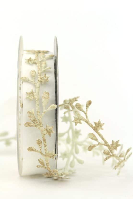 Dekogirlande Blätter, antikgold, 25 mm - weihnachtsband, dekogirlande