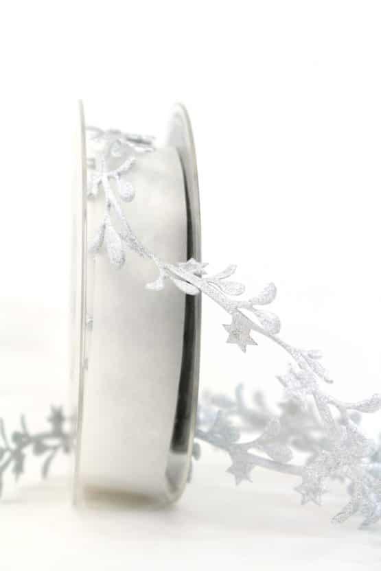 Dekogirlande Blätter, silber, 25 mm - weihnachtsband, dekogirlande