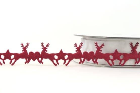 Dekogirlande Hirsche, bordeaux, 25 mm - weihnachtsband, dekogirlande