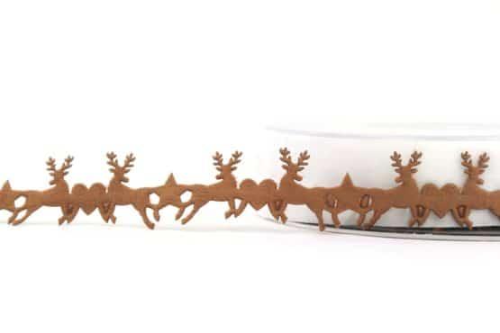 Dekogirlande Hirsche, braun, 25 mm - weihnachtsband, dekogirlande