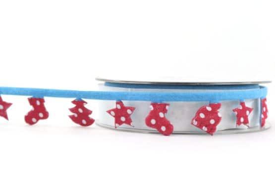 Dekogirlande blau-rot, 25 mm - weihnachtsband, dekogirlande