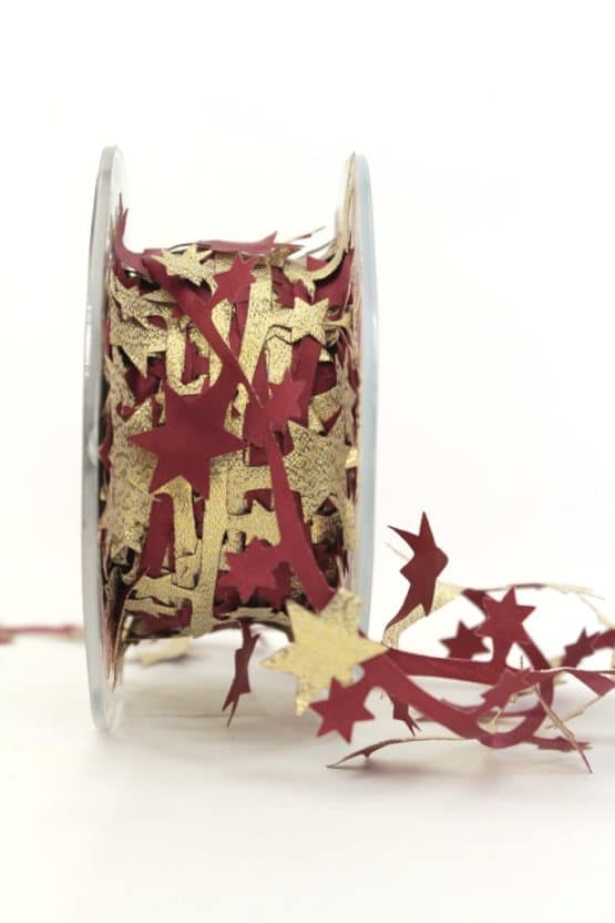 Dekolitze Sterne, zweifarbig bordeaux-gold, 40 mm - weihnachtsband, dekogirlande