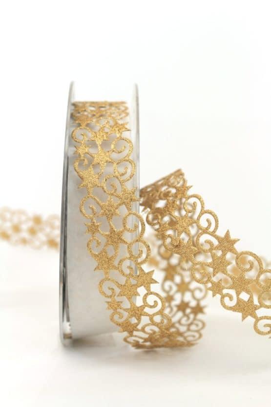Dekolitze Sterne, gold, 25 mm - weihnachtsband, dekogirlande