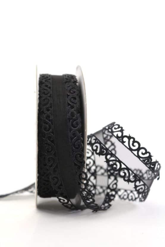 Dekolitze schwarz, 25 mm - weihnachtsband, dekoband