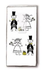 Taschentücher mit einem Brautpaar, z.B. als Gastgeschenk