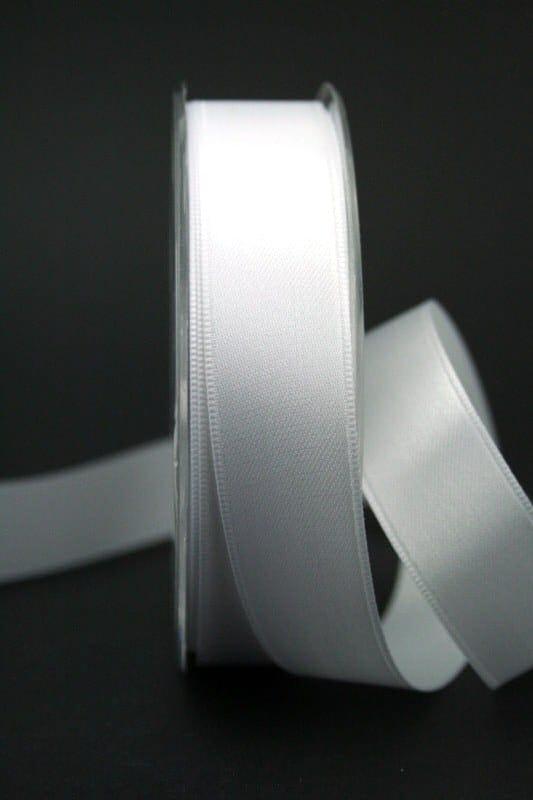 Doppelsatinband weiß, 25 mm breit - hochzeitsbaender