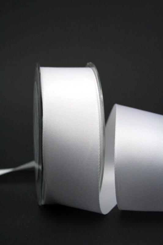 Doppel-Satinband uni weiß, 40 mm breit - satinband, hochzeitsbaender