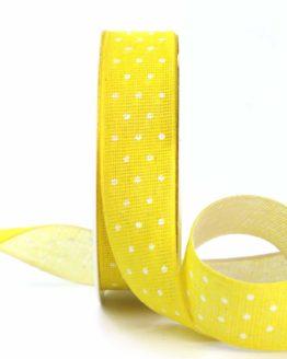 Baumwollband mit Punkten, gelb, 25 mm breit - gemusterte-bander, bedrucktes-satinband, bedruckte-everyday-bander