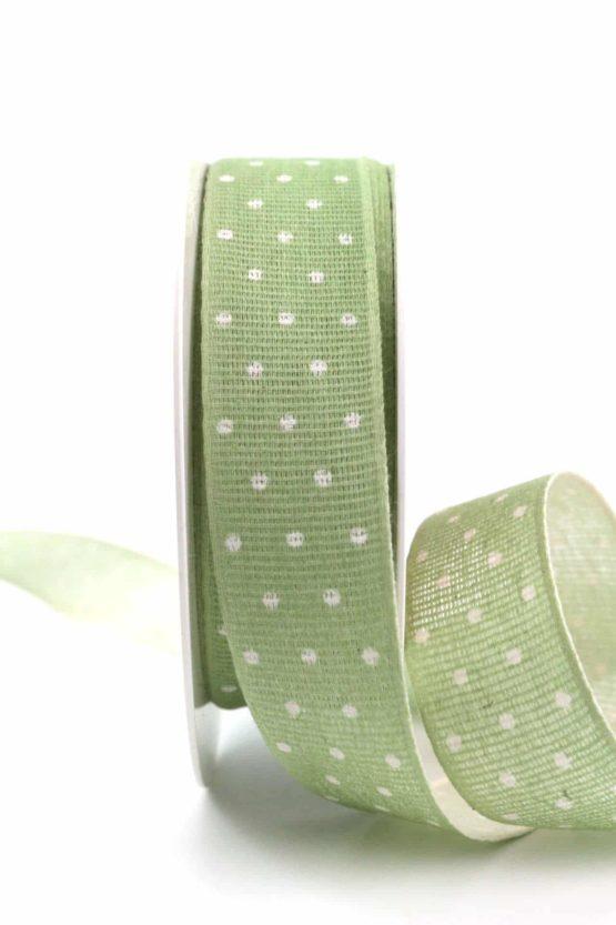 Baumwollband mit Punkten, pastellgrün, 25 mm breit - gemusterte-bander, bedrucktes-satinband, bedruckte-everyday-bander