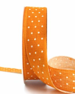Baumwollband mit Punkten, orange, 25 mm breit - gemusterte-bander, bedrucktes-satinband, bedruckte-everyday-bander