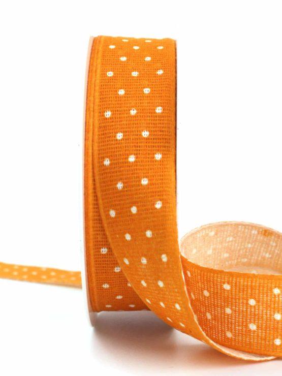 Baumwollband mit Punkten, orange, 25 mm breit - gemusterte-bander, dekobaender-fruehjahr, bedrucktes-satinband, bedruckte-everyday-bander