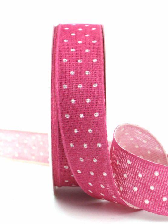 Baumwollband mit Punkten, pink, 25 mm breit - gemusterte-bander, dekobaender-fruehjahr, bedrucktes-satinband, bedruckte-everyday-bander