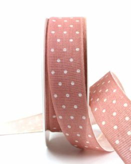 Baumwollband mit Punkten, altrosa, 25 mm breit - gemusterte-bander, bedrucktes-satinband, bedruckte-everyday-bander