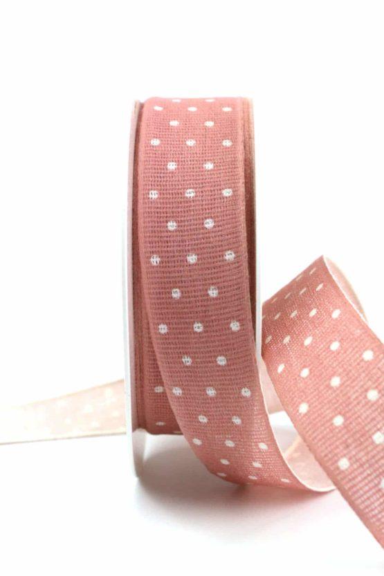 Baumwollband mit Punkten, altrosa, 25 mm breit - gemusterte-bander, dekobaender-fruehjahr, bedrucktes-satinband, bedruckte-everyday-bander