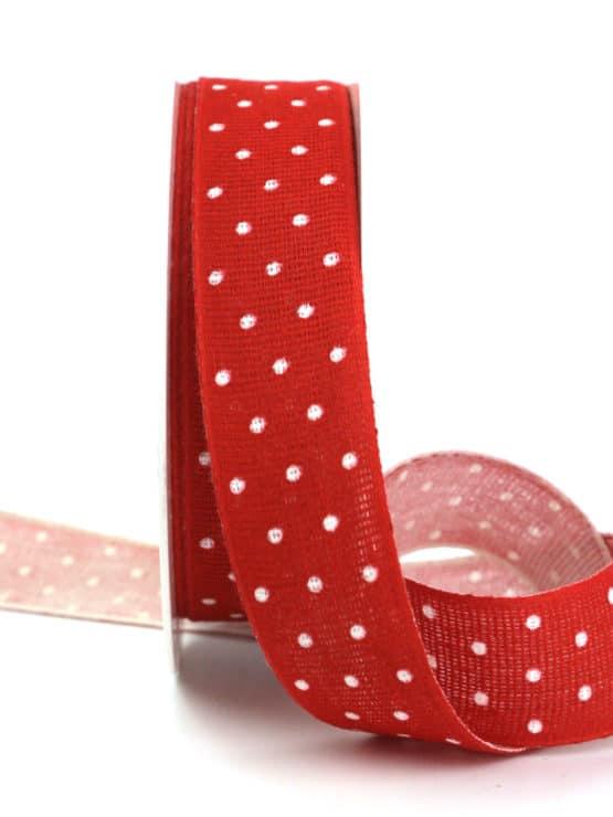 Baumwollband mit Punkten, rot, 25 mm breit - gemusterte-bander, dekobaender-fruehjahr, bedrucktes-satinband, bedruckte-everyday-bander