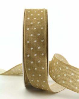 Baumwollband mit Punkten, sand, 25 mm breit - gemusterte-bander, bedrucktes-satinband, bedruckte-everyday-bander