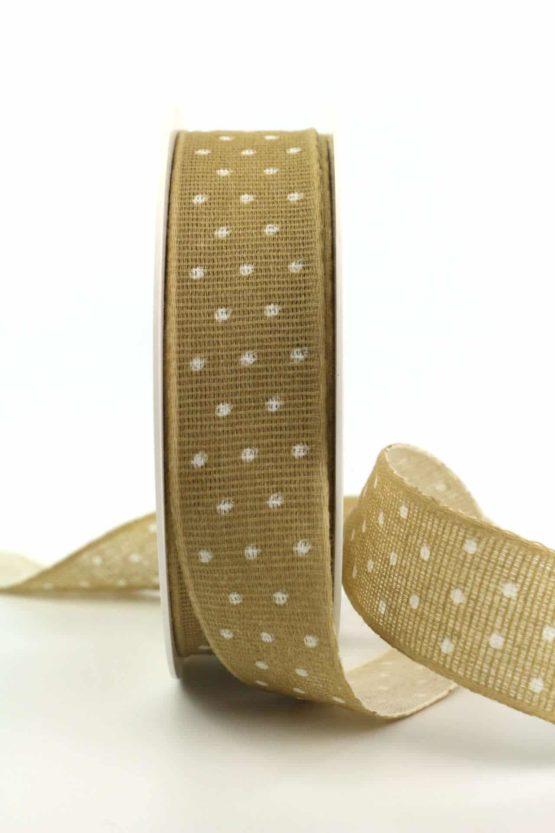 Baumwollband mit Punkten, sand, 25 mm breit - gemusterte-bander, dekobaender-fruehjahr, bedrucktes-satinband, bedruckte-everyday-bander