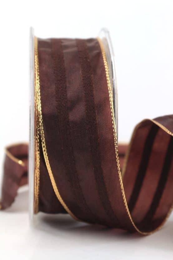 Weihnachtsband mit Chenille, schokobraun, 40 mm mit Draht - weihnachtsband, dekoband-mit-drahtkante