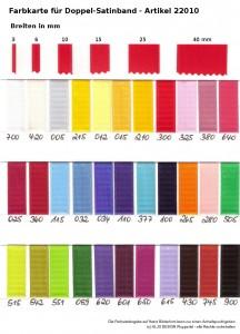 komplette Übersicht über alle Farben bei Doppelsatinband