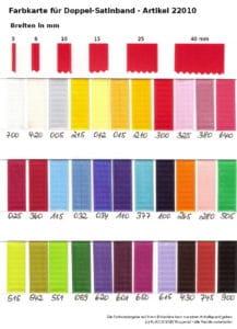 Farbmusterkarte Satinband -