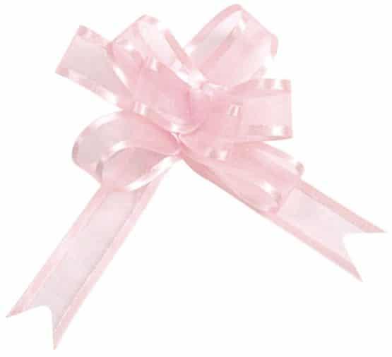 Organzaschleife rosa, mit Umband - hochzeitsbaender, hochzeitsaccessoires