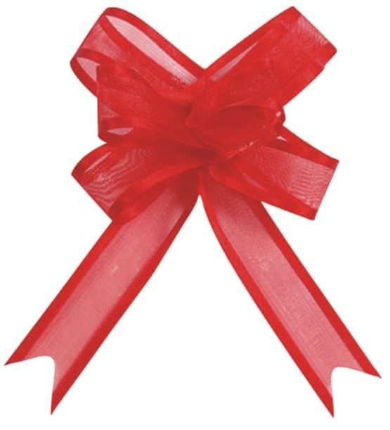 Organzaschleife rot, mit Umband - hochzeitsbaender, hochzeitsaccessoires