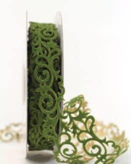 Filzgirlande Ornament, tannengrün-gold, 25 mm - weihnachtsband