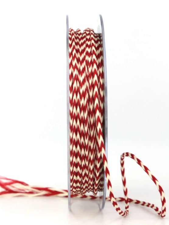 Flechtkordel rot-weiß, 3 mm stark - hochzeitsbaender, valentinstag, muttertag