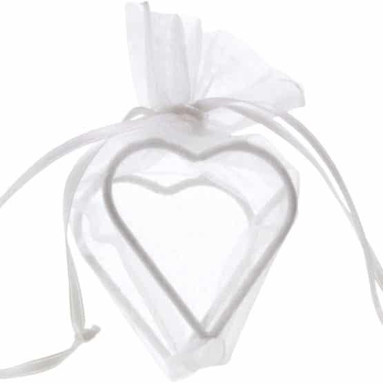 Organza-Herz - Gastgeschenk weiß, 4 St. - hochzeitsaccessoires
