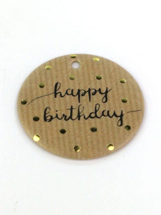 Geschenkanhänger Happy Birthday, braun, 16 Stück Beutel - streuartikel, andere-baender